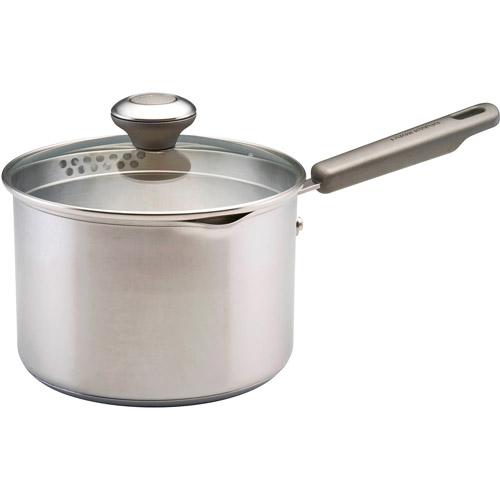 Farberware 18/10 Stainless Steel 3-Quart Saucepan w-Straining Lid, Stainless Steel