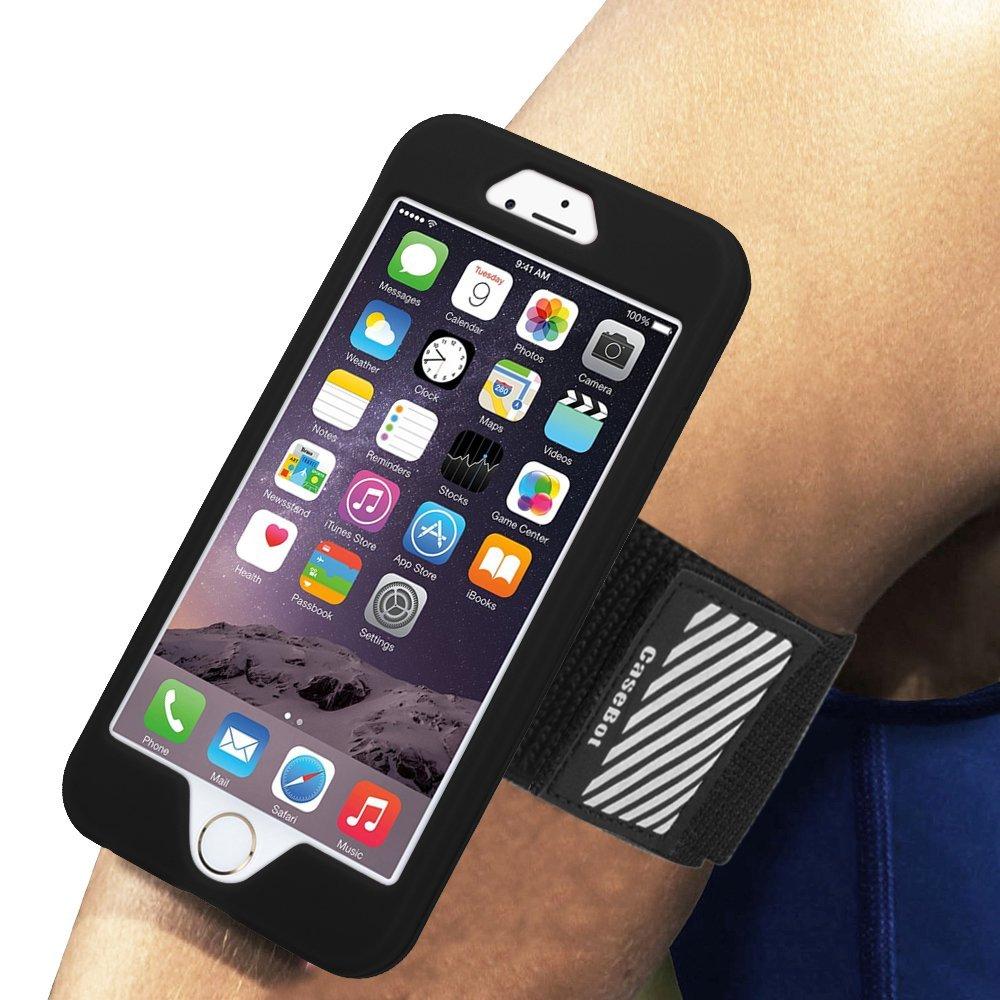 iPhone 6 / iPhone 6S Armband - Fintie Sports Running Case Premium Flexible Detachable Silicone Cover Combo, Black