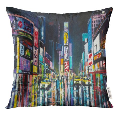 Original Fine Oil Painting (USART Yellow Light New York Original Oil Painting Night View of Times Colorful Fine Pillow Case 16x16 Inches Pillowcase )