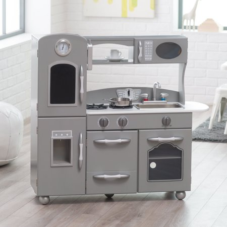 Classic Playtime Gray Wooden Retro Kitchen Set