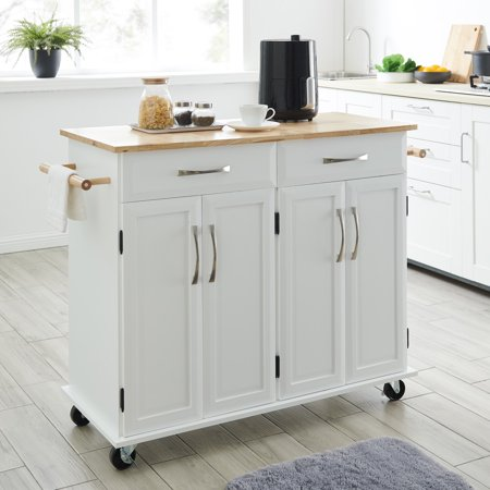 BELLEZE Portable Kitchen Rolling Cart Wood Top Island Serving Utility w/Cabinet&Drawer (White) Dining Room Kitchen Serving Cart