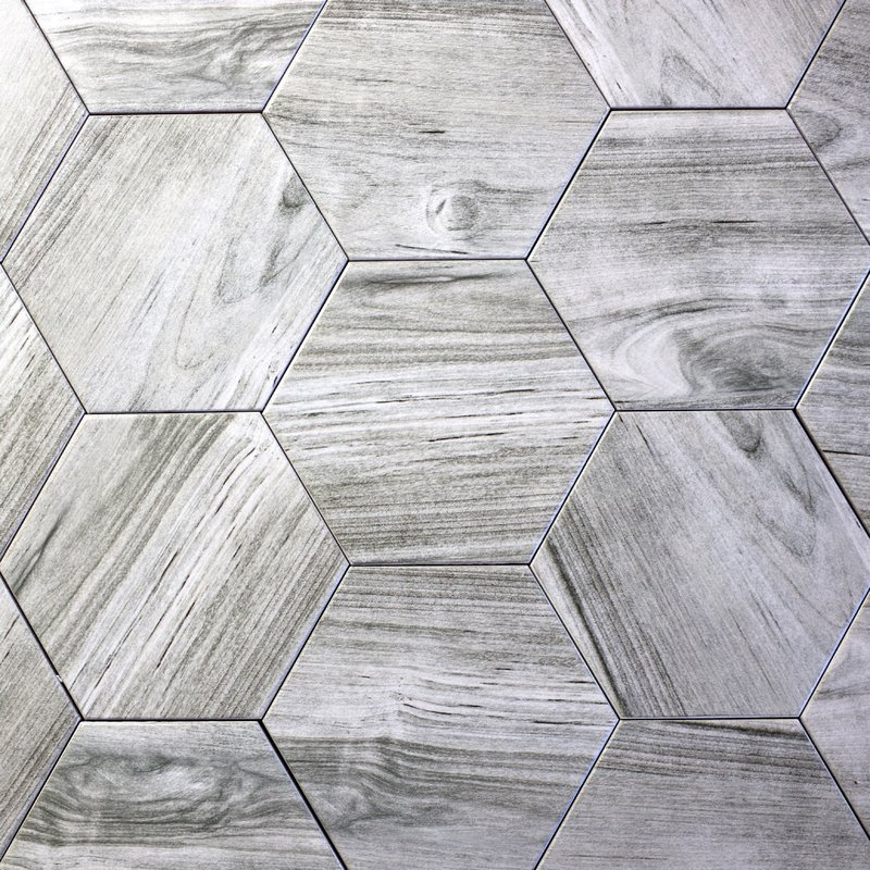 "Abolos- Artisan Wood Hexagon 8"" x 8"" Ceramic Wood Look Tile in Gray (7.70sqft / 20pc Box)"