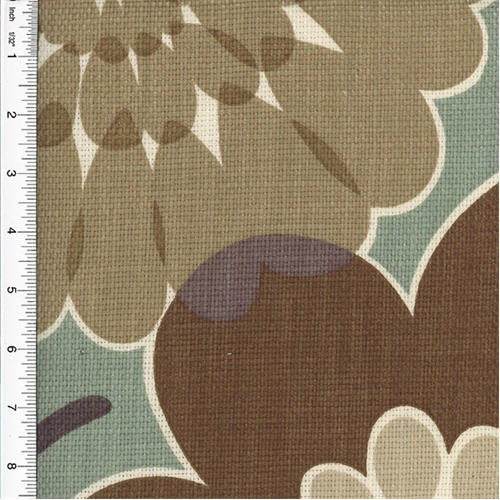 Designer Cotton Brown/Teal Floral Print Decorating Fabric, Fabric By the Yard