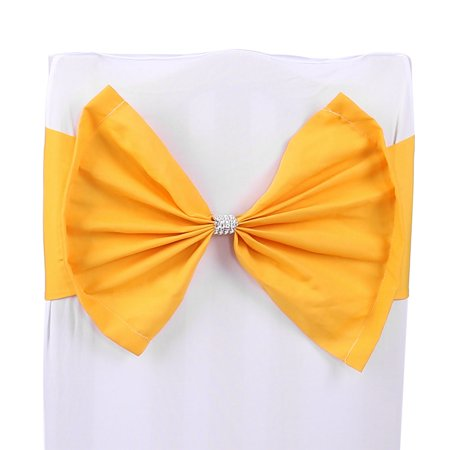 Holiday Bowknot Faux Diamond Decor Wedding Party Banquet Chair Cover Sash Bow Bands ()