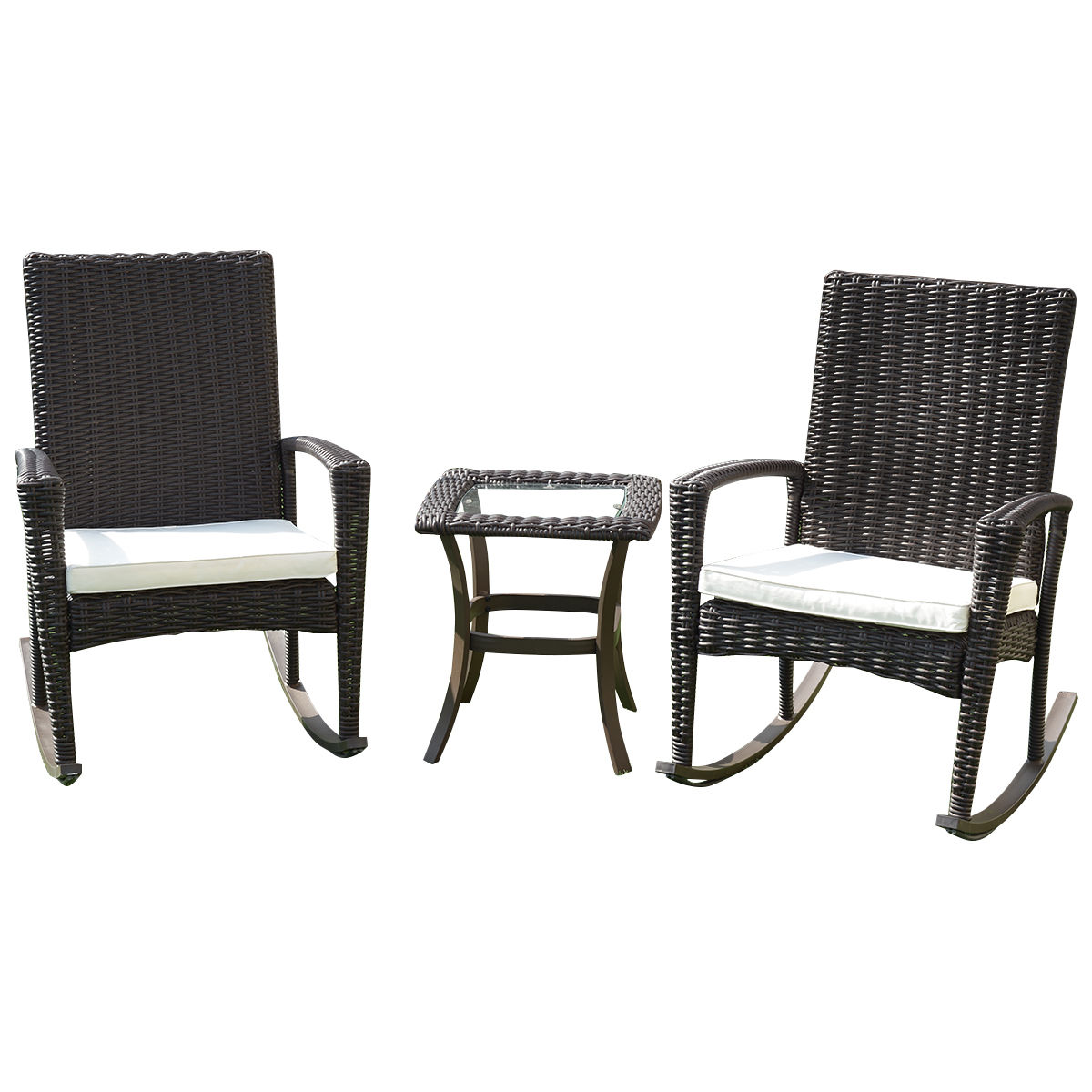 Gymax 3 Piece Rattan Wicker Furniture Set Cushioned Patio Garden Outdoor by Gymax