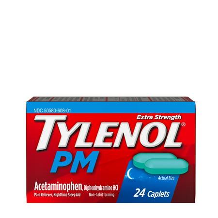 Tylenol PM Extra Strength Pain Reliever & Sleep Aid Caplets, 24 ct