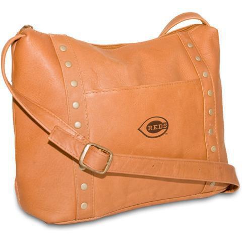 Pangea Tan Leather Women's Top Zip Handbag - Cincinnati Reds Cincinnati Reds PANGBBCINHBT