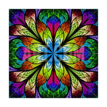 Multicolor Beautiful Fractal Flower. Computer Generated Graphics Print Wall Art By velirina