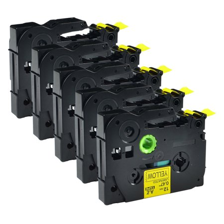 GREENCYCLE 5PK Black on Yellow 12mm TZ TZe TZe-631 TZ-631 TZe631 TZ631 Laminated Label Tape for Brother P-touch PT-1880 PT-2030 Label Maker
