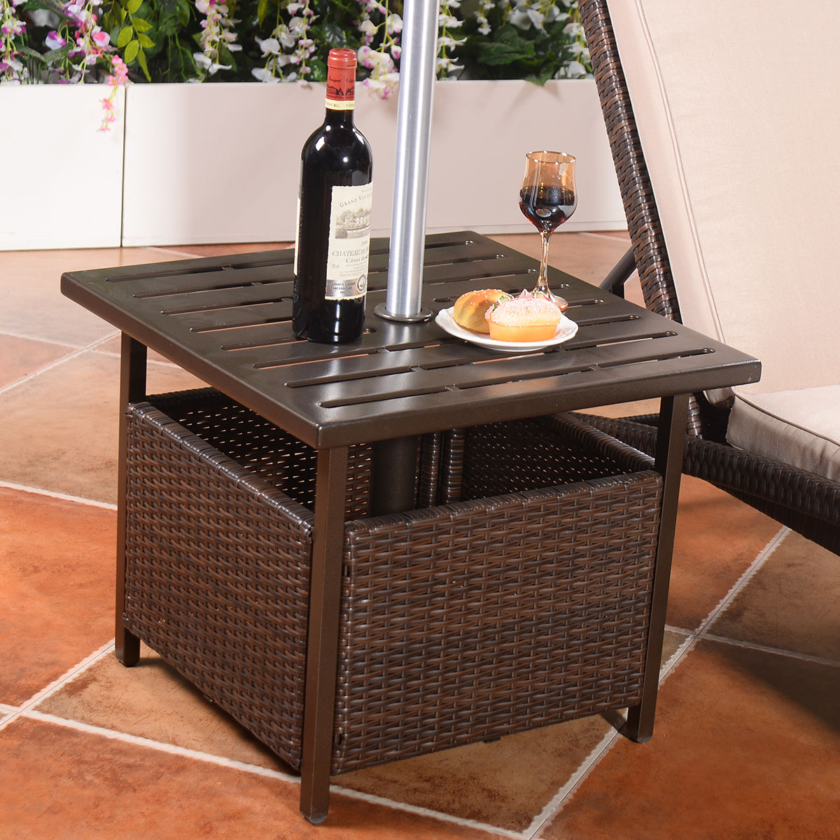 Costway Brown Rattan Wicker Steel Side Table Outdoor Furniture Deck Garden Patio Pool by Costway