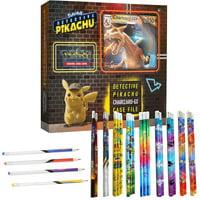 Pokemon TCG: Detective Pikachu Charizard-Gx Case File + 6 Booster Pack + A Foil Promo Card + A Foil Oversize Card + 12 Pokemon Themed Pencils