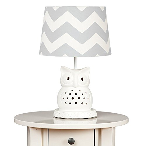 Lolli Living Lamp Base & Shade - Owl Base & Grey Zig Zag Shade
