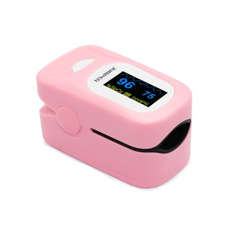 JUMPER 500A Fingertip Pulse Oximeter Oximetry Blood Oxygen Saturation Monitor Heart Rate Monitor Pulse Oximeter for Sports Home Health Care with Carrying Case Batteries and Lanyard, Pink ()