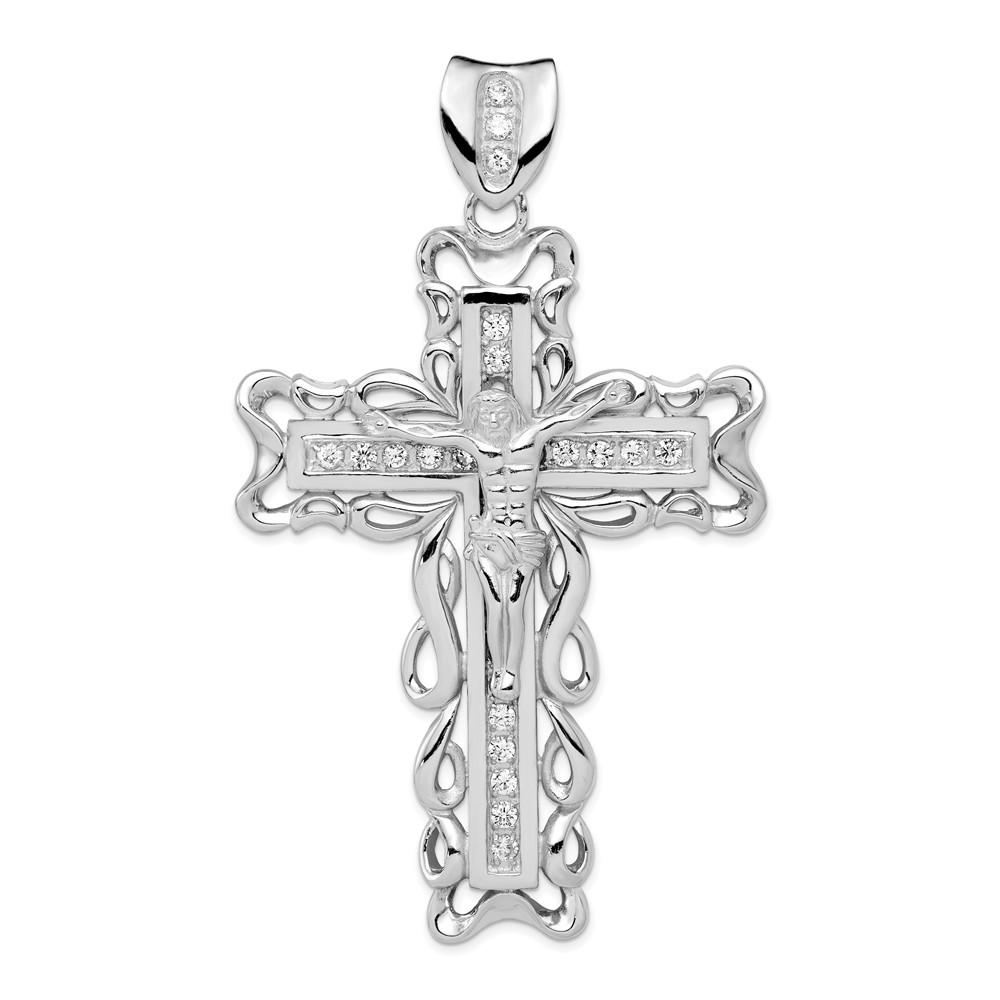 Sterling Silver CZ Crucifix Pendant