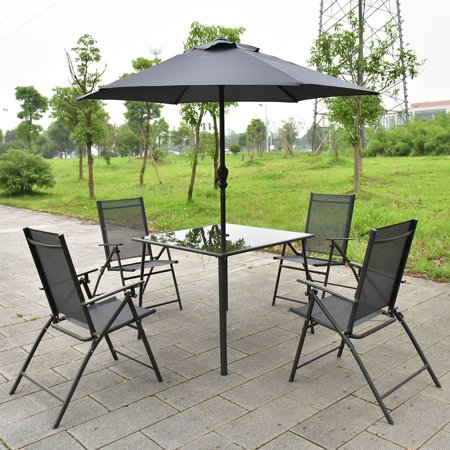 Prime Complete Set 6Pcs Patio Garden Furniture 4 Folding Chairs Table With Umbrella Gray Machost Co Dining Chair Design Ideas Machostcouk