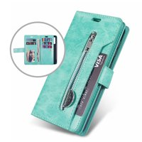 Galaxy S10e Wallet Case, Dteck 9 Card Holder Folio Flip Leather Magnetic Wallet Case with Strap, Money Pocket & Kickstand Full Protective Zipper Purse For Samsung Galaxy S10e 5.8 inch, Mint Green