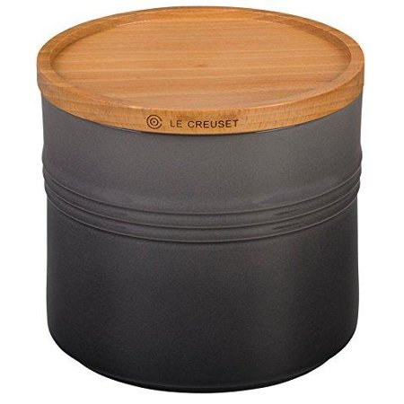 """Le Creuset 5 Stoneware 1/2"""" Canister with Wood Lid 1 1/2 quart Oyster"""