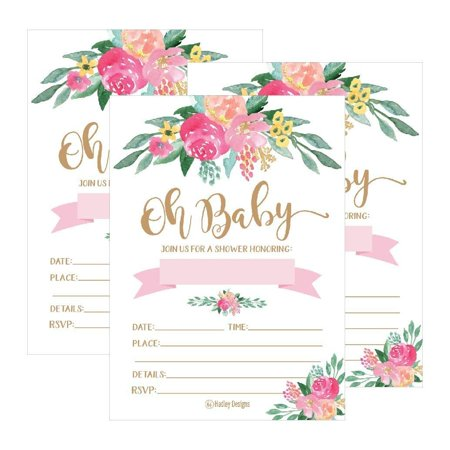 25 Cute Floral Oh Baby Shower Invitations For Girls, Pink Blush Gold Flowers Printed Write or Fill In The Blank Invite Unique Custom Vintage Coed Themed Party Card Stock Paper - Diy Halloween Party Invitations