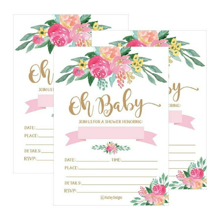 Floral Invite - 25 Cute Floral Oh Baby Shower Invitations For Girls, Pink Blush Gold Flowers Printed Write or Fill In The Blank Invite Unique Custom Vintage Coed Themed Party Card Stock Paper Supplies and Decorations