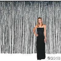 Large Black Foil Fringe Curtain