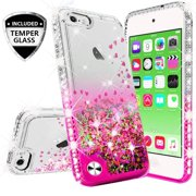 Compatible for Apple iPod Touch 5 Case, iPod Touch 6 Case, with [Temper Glass Screen Protector] SOGA Diamond Glitter Liquid Quicksand Cover Cute Girl Women Phone Case [Clear/Pink]