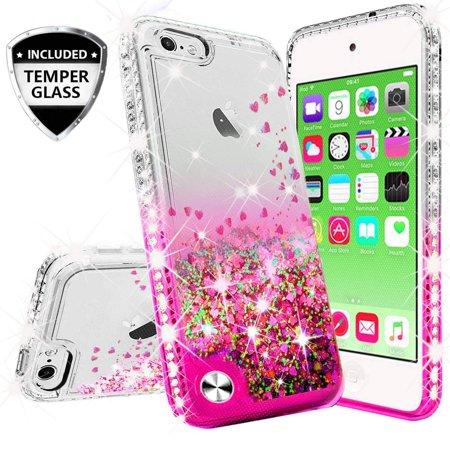 Compatible for Apple iPod Touch 5 Case, iPod Touch 6 Case, with [Temper Glass Screen Protector] SOGA Diamond Glitter Liquid Quicksand Cover Cute Girl Women Phone Case [Clear/Pink] - Cave Women