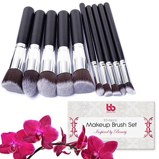 Professional Makeup Brushes, 10 Piece Set, Vegan, with Plastic Handles, Great for Applying ...