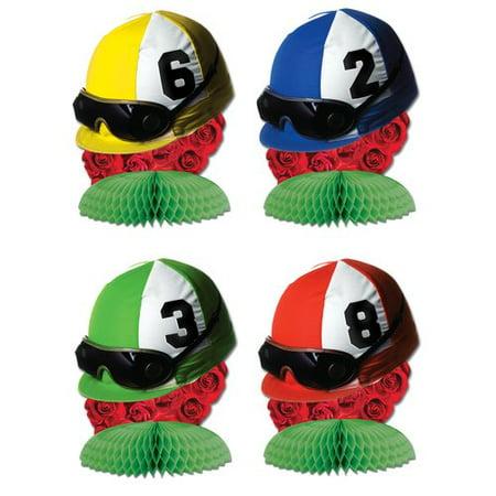 The Party Aisle 4 Piece Jockey Helmet Mini Centerpiece Set (Set of 4) (Jockey Helmet)