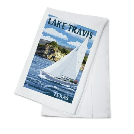 Austin, Texas - Lake Travis Sailing Scene - Lantern Press Artwork (100% Cotton Kitchen Towel)](Halloween Stores Austin Texas)