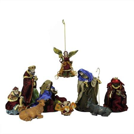 9-Piece Hand Painted Religious Christmas Nativity Figurine Set ()