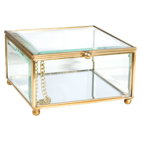 Home Details Vintage- Copper Beveled Clear Glass And Mirrored Bottom Jewelry Box W/Top Lid Hummingbird Stained Glass Jewelry Box