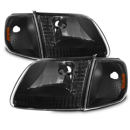 Fit 1997-2003 Ford F150 | 97-02 Expedition Black Bezel Headlights + Corner Light