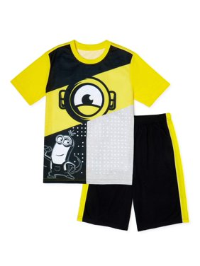 Minion Boys Exclusive Short Sleeve Top and Shorts, 2-Piece Pajama Set, Sizes 4-12