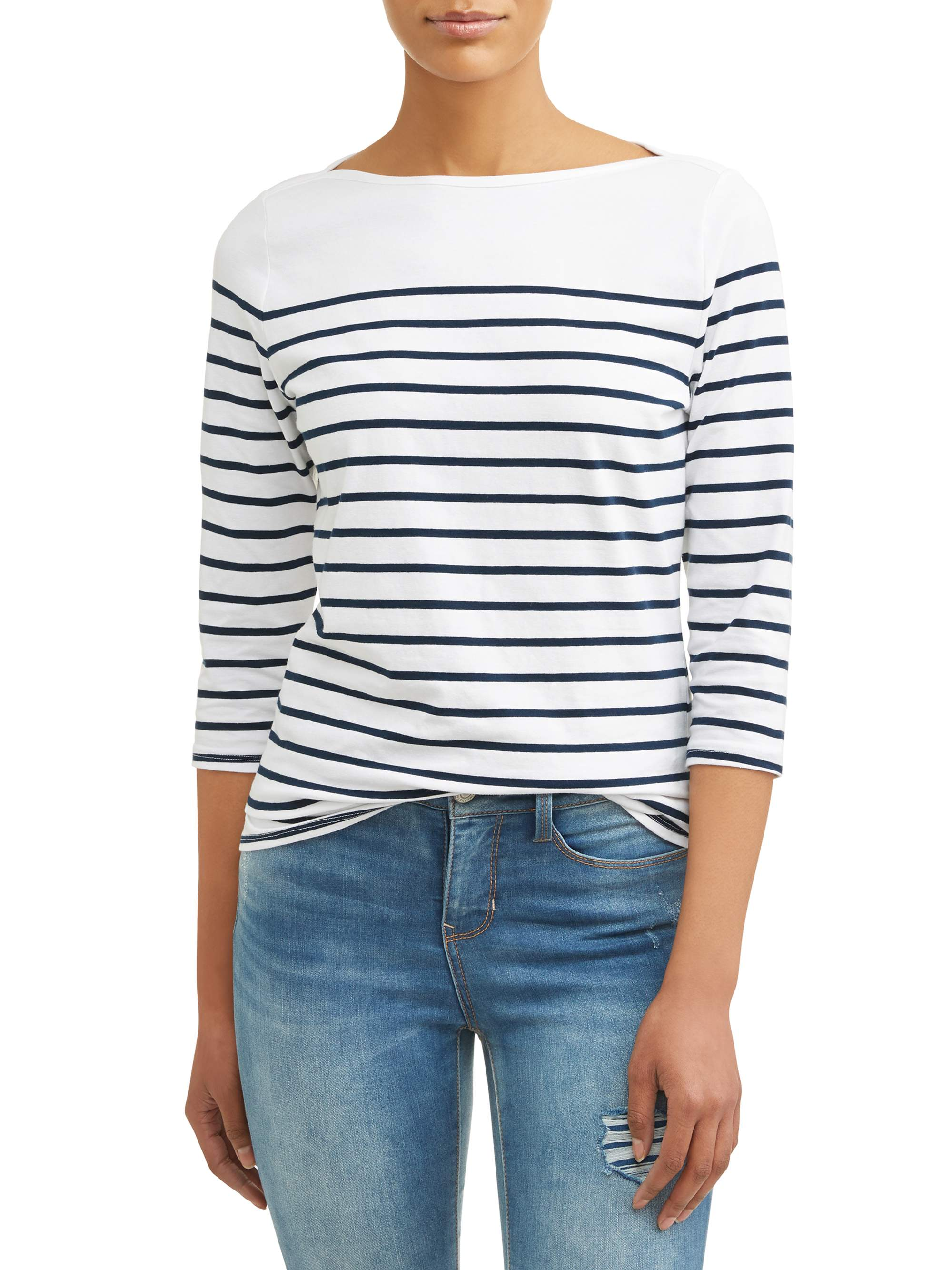 266a13ef572 Time and Tru - Women's 3/4 Sleeve Classic Boatneck Top - Walmart.com