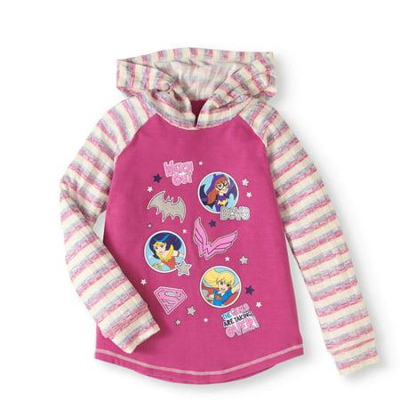 Long Sleeve Sweater Knit Hoodie (Little Girls & Big Girls) (Batgirl Hoodie)