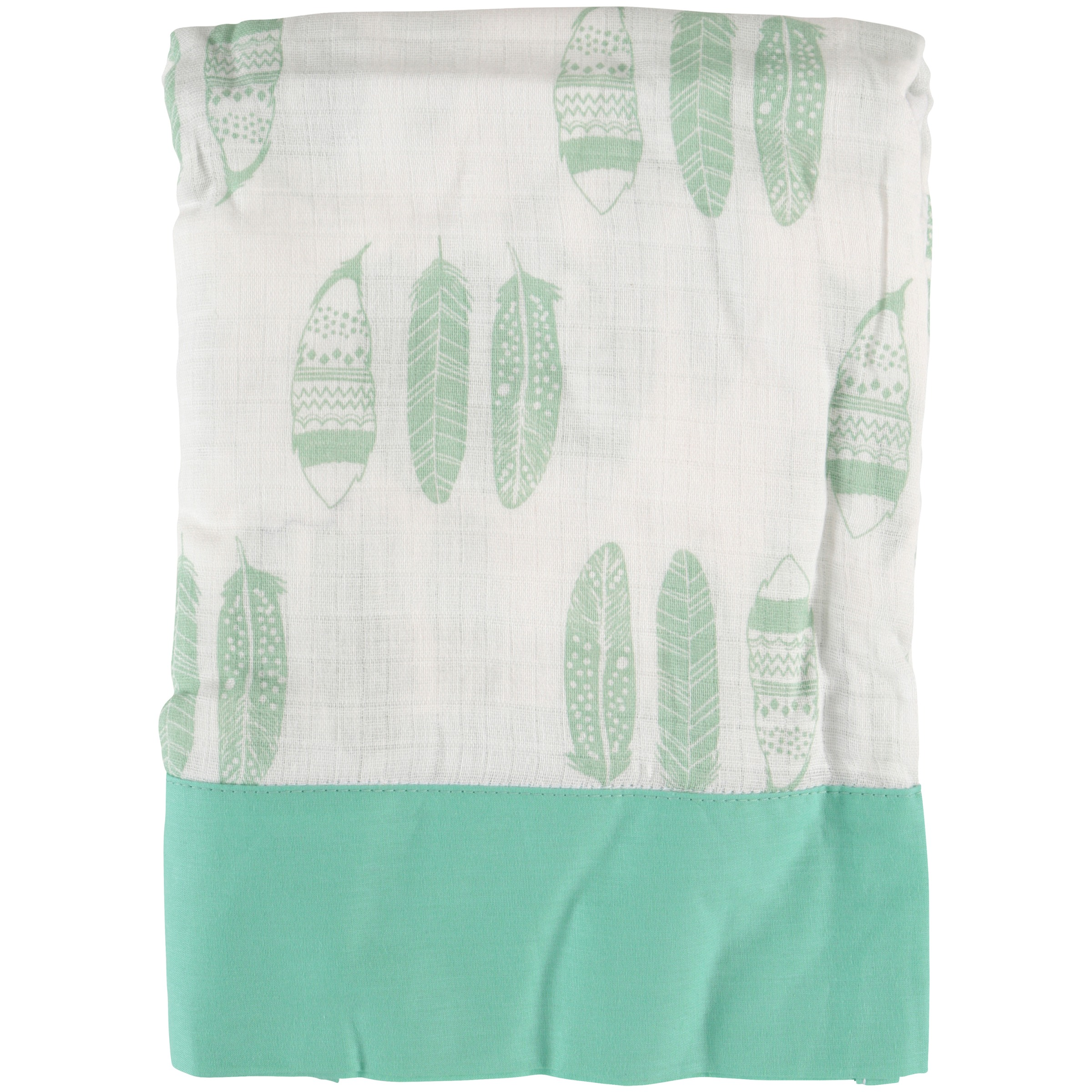 Bacati™ Noah Tribal Mint Feathers Muslin Toddler Sheet Set 3 pc Pack