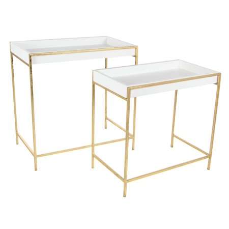 Decmode Set of Two - 20 and 22 Inch Modern Iron and Wood Console Tables, Gold - Kohler Iron Console
