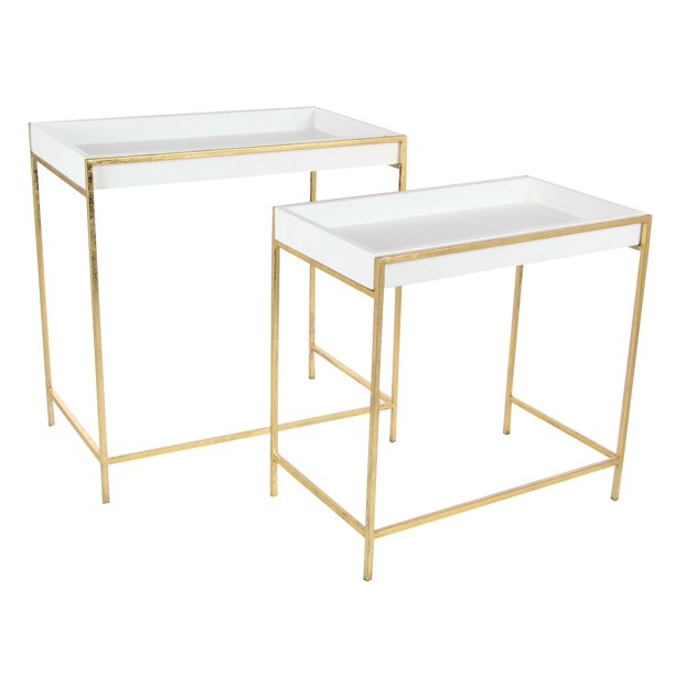 Decmode Set of Two - 20 and 22 Inch Modern Iron and Wood Console Tables, Gold