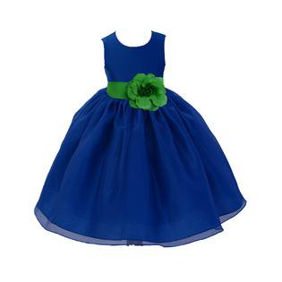 Ekidsbridal Royal Blue Satin Bodice Organza Skirt Flower Girl Dress Special Occasions Pageant Toddler Birthday Party Holiday Bridal Baptism Junior Bridesmaid Communion 841s