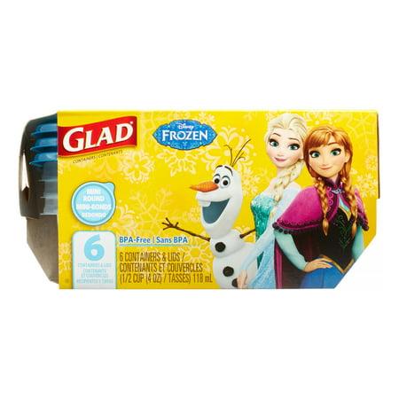 Glad Food Storage Containers  Mini Round  Disney Frozen  4 Oz  6 Ct