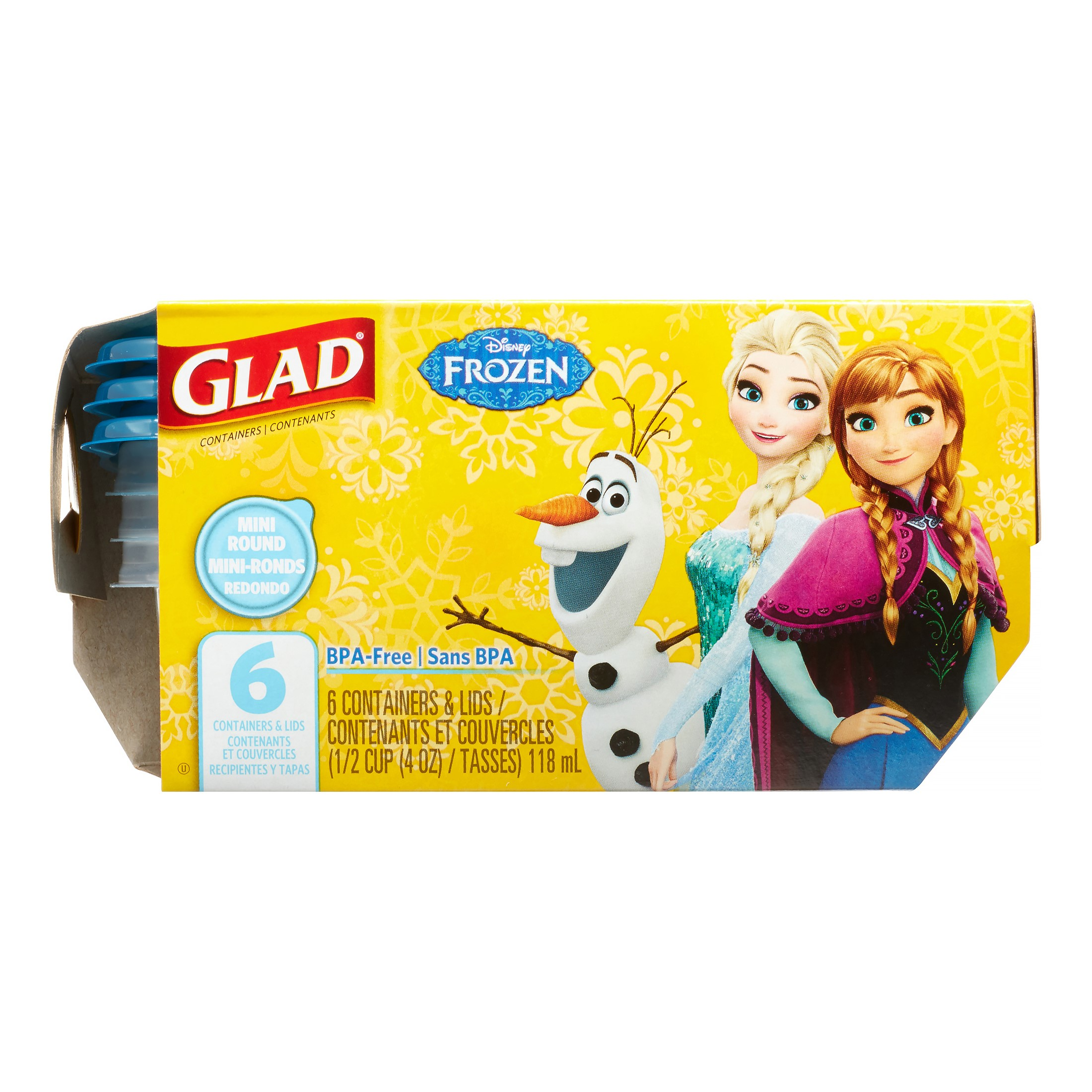 Glad Food Storage Containers, Mini Round, Disney Frozen, 4 Oz, 6 Ct