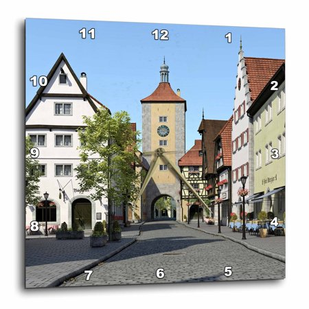 3dRose Bavarian Town Main Street - Wall Clock, 10 by 10-inch