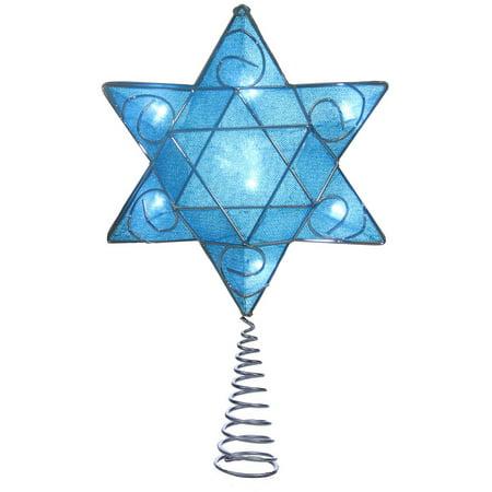 Kurt Adler UL 10-Light LED Silver and Blue Hanukkah Star Shimmer Treetop for $<!---->