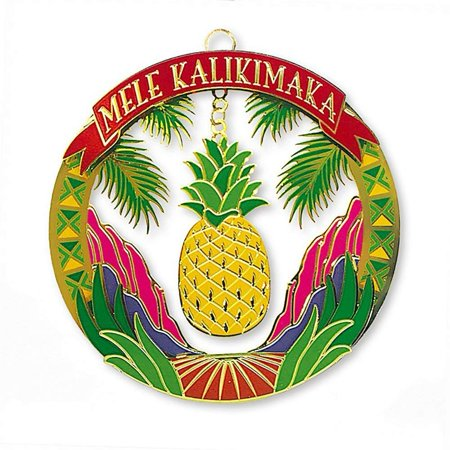 Christmas Pineapple - Hawaiian Tropical Fruit Pineapple Mele Kalikimaka Metal Christmas Ornament