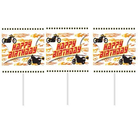 Motorcycle Happy Birthday Party Cupcake Picks -24pack - Motorcycle Birthday Party Supplies