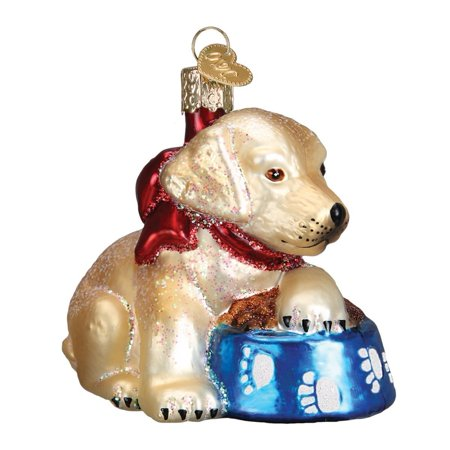 Labrador Pup Glass Blown Ornament, Hand crafted in age-old tradition using techniques that originated in the 1800's By Old World Christmas (Glass Ornaments For Crafts)