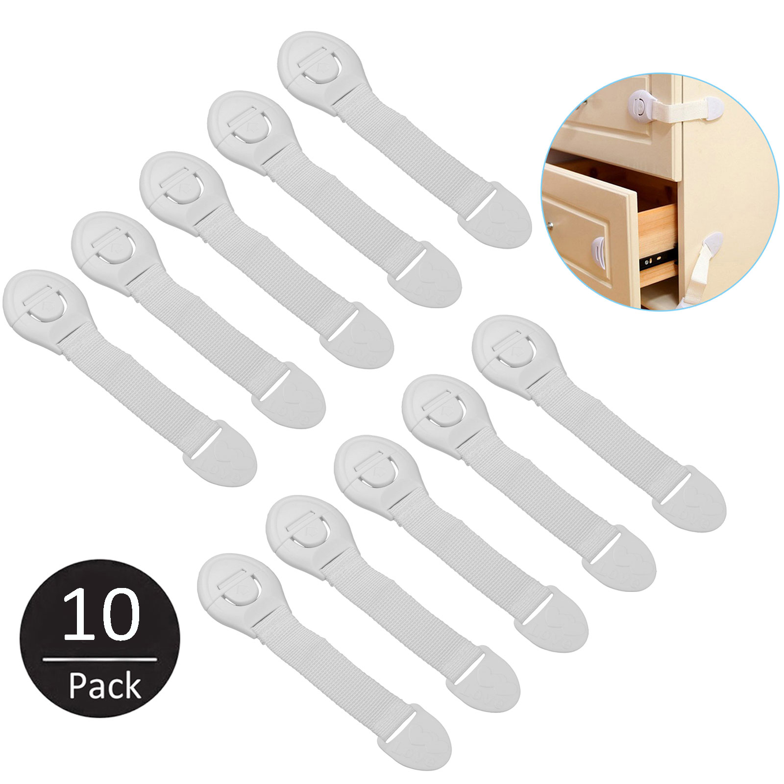 10-pack Kids Baby Infant Children Proof Door Cupboard Cabinet Drawer Safety Lock