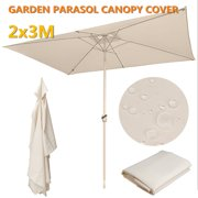 9.8x6.6ft 6 Ribs Umbrella Replacement Canopy Garden Patio Market Table Outdoor Deck Umbrella Replacement Canopy Cover 6 Colors (Canopy Only)