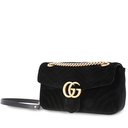 Gucci GG Marmont Black Velvet Ladies Shoulder Bag