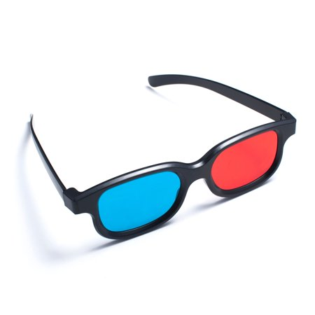 Insten 1 Pair Black Frame Red Blue 3D Glasses For Dimensional Anaglyph Movie Video Game DVD HDTV LCD LED TV Home Theater